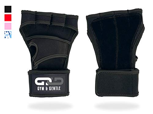 Gym & Gentle Damen Herren Fitness Handschuhe/Trainingshandschuhe/Handgelenkstütze - Krafttraining/Bodybuilding/Crossfit (Schwarz, L)