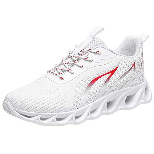 Lilicat Uomo Scarpe da Ginnastica Sportive Corsa Trail Running Sneakers Fitness Casual Basse Trekking All'Aperto Sneaker (Bianca 1,46 EU)