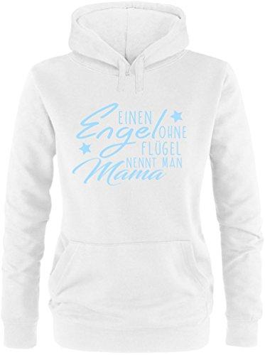 EZYshirt® Ein Engel ohne Flügel nennt man Mama Damen Hoodie Weiss/Hellblau