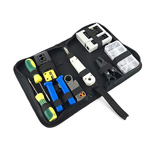 9-in-1 Netzwerk-Reparatur-Kit, Computer Wartung LAN Kabel-Test-Kit, RJ45 RJ11 Cat5e Cat6 Crimp-Tool zur Unterstützung integrierter Drahtgeräte