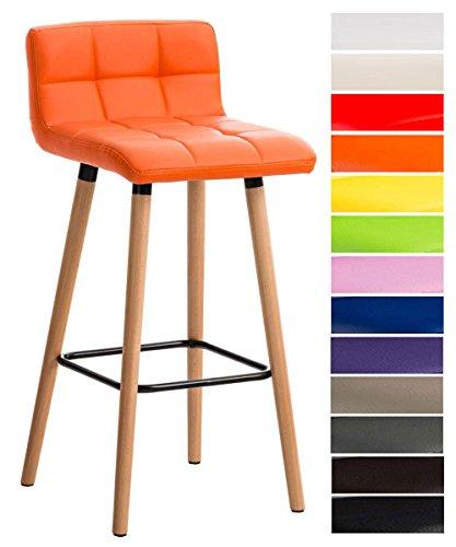 CLP Barhocker LINCOLN mit Kunstlederbezug und Holzgestell I Thekenhocker mit Rückenlehne und Fußstütze I Gepolsterter Barstuhl mit einer Sitzhöhe von 75 cm Orange