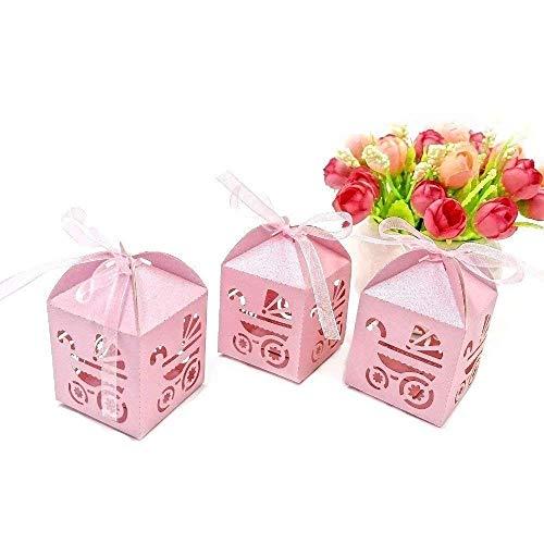 JZK 48 Piezas caja cajitas para caramelos regalo bombones recuerdos bautizos bodas comuniones con cinta para boda cumpleaños fiesta bebé bautizos comunión detalle, rosa