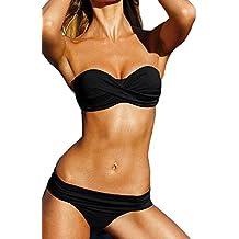 Cliont acolchada Bikini palabra de honor clásico traje de baño de dos piezas