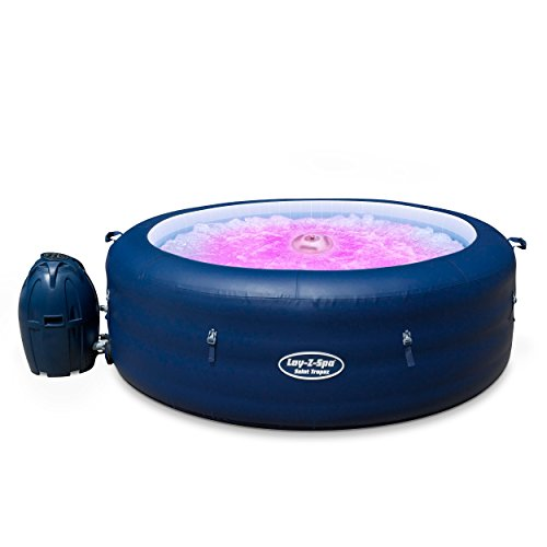 Lay-Z-Spa Saint Tropez Hot Tub with Floating LED Light 2019 model, AirJet Inflatable Spa, 4-6 Person