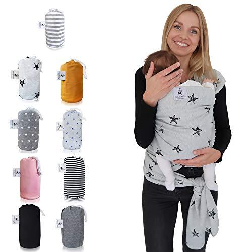 Fastique Kids® Tragetuch - elastisches Babytragetuch für Früh- und Neugeborene inkl. Baby Wrap Carrier Anleitung (Sternchen) -