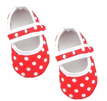 NeedyBee Ballerina for Baby Girls with Soft Sole Shoes with White Polka Dot Pre-Walker (0-3 Months) (Red)