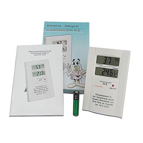 Klimatherm Digitales Thermometer Hygrometer Schimmel Vorsorge Wohnklima Messgerät DTH-10-S - (1 Pack) 3 Jahre Garantie -