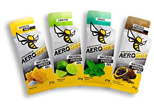 AEROBEE Energy Gel | Probierpaket: Honey & Salt, Limette, Minze, Kakao & Guarana | Natürliches Energie Gel für Ausdauersport | Schnelle und dauerhafte Energie | Sehr bekömmlich | 4 Gels x 25g -