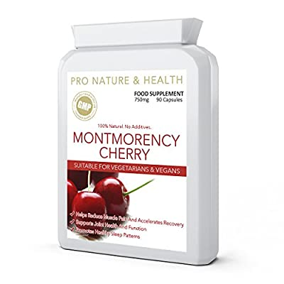 Montmorency Cherry   750mg x 90 Capsules   100% Natural   No Additives   Helps Reduce Muscle Pain   Supports Joint Health And Function   Promotes Healthy Sleep Patterns   Manufactured In The UK To GMP Code Of Practice And ISO 9001 Quality Assurance Certif