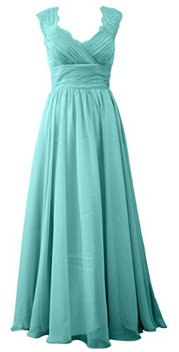 MACloth Women Vintage Long Bridesmaid Dress V Neck Lace Formal Evening Gown Turquoise