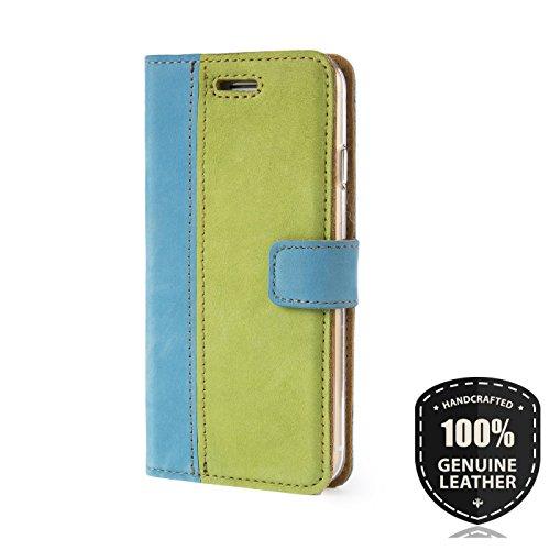 Zwei Motiv - Apple iPhone 7 - Premium Ledertasche Schutzhülle Wallet Case aus Echtesleder mit Kreditkarten / Notizen Fachern (Veloursleder) und Duo Motiv (Schwarz/Orange) von Surazo® Duo Leather Kolle Light Blue/Light Green