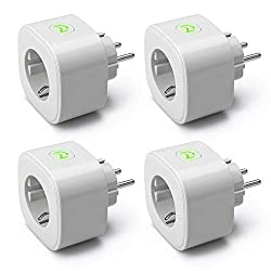 Meross intelligent WiFi socket Smart Plug, measure power consumption timer function socket with Alexa, Google and SmartThings, 16A 3680W, 4 pieces, gray
