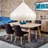 lounge-zone Moderne Pendelleuchte Küchenlampe Esszimmerlampe Hängeleuchte Deckenleuchte Leuchte Beleuchtung Pendellampe Hängelampe Lampe RESQUE Dinning Wohnzimmer Schlafzimmer weiß Φ 40cm 13074