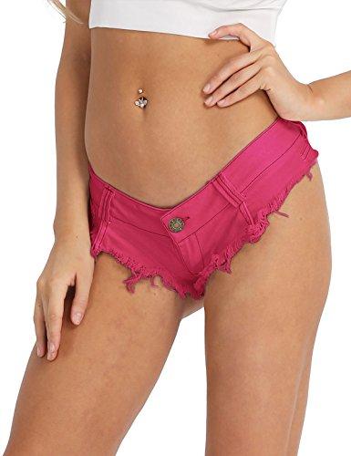 iixpin Damen Bikinihose Beachshort Hotpants Jeansshorts Denim Shorts Destroyed Style Jeans Hose Slip Hipster S M L Rose Large