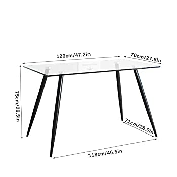jeffordoutlet Dining Table and Chairs,Set of 4 Dining Chairs Tempered Glass Rectangle Dining Table,Kitchen Furniture