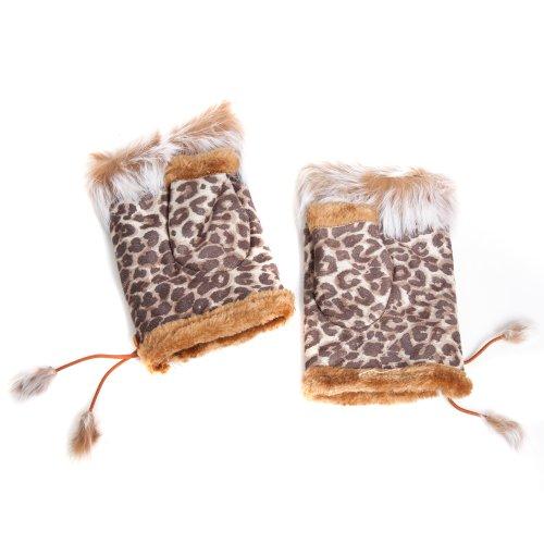 Guantes para mujer con estampado de leopardo, piel sintética, sin dedos