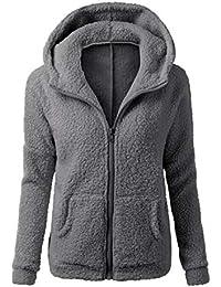 f4979f9f486e Vertvie Femme Veste Polaire Zippé Sweat-Shirt à Capuche Manteau Hoodie  Chaud Automne Hiver