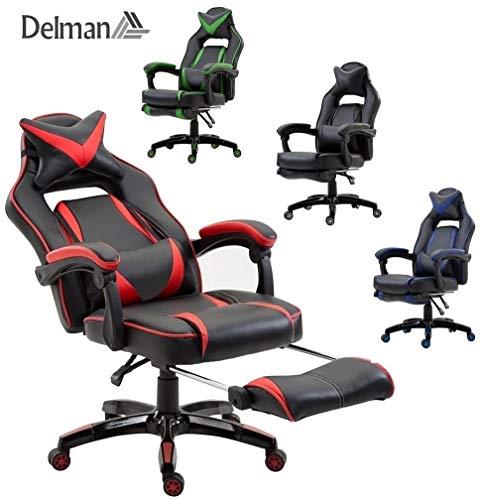 Delman XXL Racing Bürostuhl Schreibtischstuhl Gaming Chair Drehstuhl Höhenverstellbar mit Fußstütze Fußablage mit Armlehnen Chefsessel Große Sitzfläche Dicke Polsterung 11 cm RS0019RD
