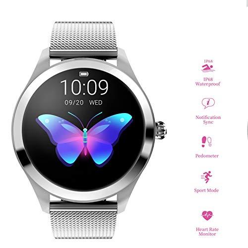Love Life 1,0-Zoll-GPS-Fitness-Tracker-Uhr für Damen, wasserdicht mit All-Day-Herzfrequenz und Frau Physiological Reminder, Schlafüberwachung, extrem Lange Akkulaufzeit, Bluetooth,Silver (Life 1 Tracker)