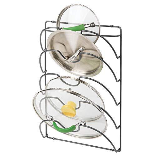 Mdesign porta coperchi verticale – pratici accessori cucina per coperchi di varie misure – maneggevole accessorio salvaspazio in metallo per utensili da cucina – grigio