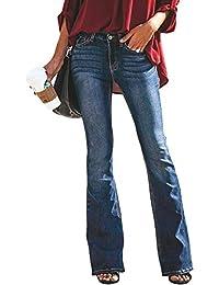 ec290696f72 Minetom Mujer Pantalones Acampanados Vaquero Skinny Push Up Pantalones  Elástico Jeans Cintura Alta Denim Mezclilla Pants