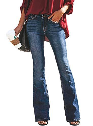 Minetom Schlaghosen Damen Jeans Hosen Stretch Skinny Destroyed Style Denim Jeanshose Retro Hohe Taille Flared Pants Dunkelblau M Damen Bootcut-hose