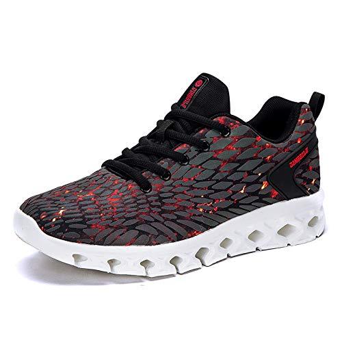 Jugend Rot Leder Kinder Schuhe (LOVDRAM Männer Schuhe Männer Breathable Wilde Männer Schuhe Mode Jungen Casual Sport Studenten Jugend Laufschuhe Herbst Mode Schuhe, Schwarz Rot, 44)