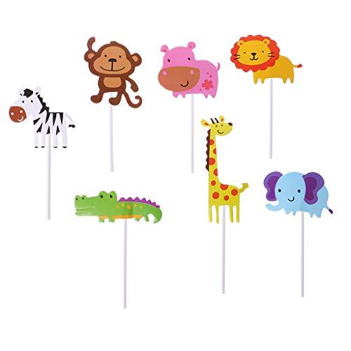 Wanfor 7pcs Baby Dusche Wildlife Tier Kuchen Topper Kinder Geburtstag Party Kuchen Picker, Küche Backzubehör
