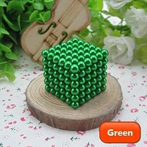 Cubo magico composto da sfere magnetiche in ferro, 216 pezzi, diametro: 5 mm, puzzle, soprammobile, giocattolo, antistress, sviluppa l'intelligenza - verde