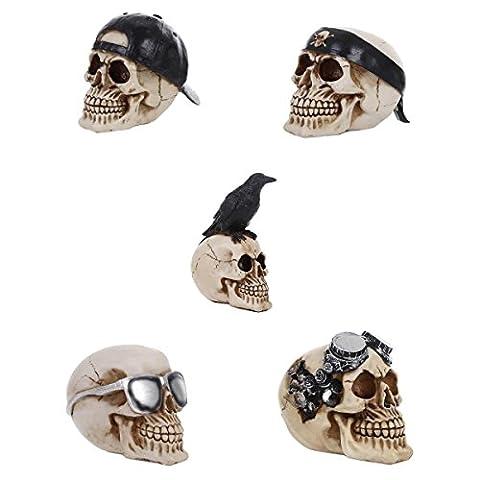 MagiDeal 5pcs/Set Crâne Squelette Résine Objet Collection Ornement Gothique Punk Rock Décoration Pub Bar Maison -