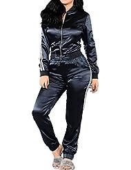 Femme Costumes Casual Classique Fermeture à Glissière Sweats Tops + Pantalons Joggings Survêtements