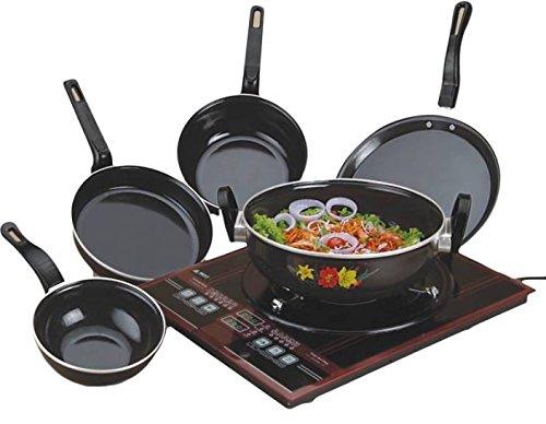 Non Stick HF-U18H Micro Wave Safe 5 Unqiue Pcs Cookware Set