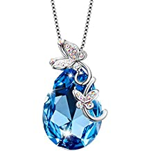 """Sivery """"Butterfly Love"""" Ocean Blue Pendant Necklace with Swarovski Crystal, Jewellery for Women"""