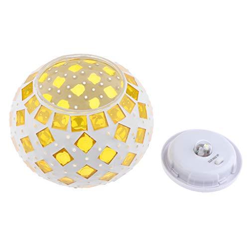 KESOTO Kugellampe Mosaik Tischlampe, Vintage Design, perfekt für Party/Geburtstag/Hochzeit deko - Gelb