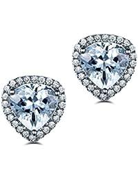 4b0cffbc3871 AMDXD Joyas Plata de Ley 925 Aretes para Mujer Azul Corte Triangular  Topacio Triángulo Pendiente