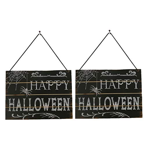 SEY TOYS Indoor-Und Outdoor-Hölzerne Halloween-Dekorationen Verfolgt Hölzerne Zeichen Dekoration, Familie, Schule, Büro-Party-Dekorationen Happy Halloween Holz ()