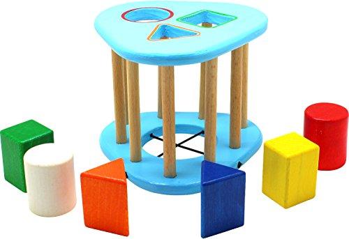 edufun 22081Dados de Madera Triangular Shape Cage Ranuras Caja 6Piezas Puzzle steckspiel motricidad Juguete para el Aprendizaje
