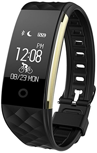 Semaco ZJB7000-WLWatch006 Fitness Tracker Waterproof Smartwatch, Black/Gold