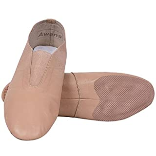 Awans Leather Jazz Slip On Shoes Split Sole Jazz Sneakers for Women Men, Tan/Pink Shade (UK 4)