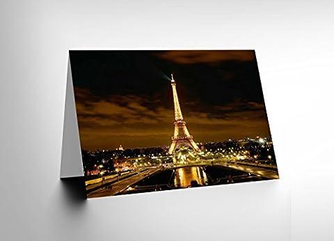 EIFFEL TOWER NIGHT LIGHTS PARIS FRANCE HOME BLANK GREETINGS CARD