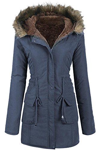 Wintermantel Damen Pagacat Langarm Warme Wolle Kordelzug Parka mit Kapuze und Tasche