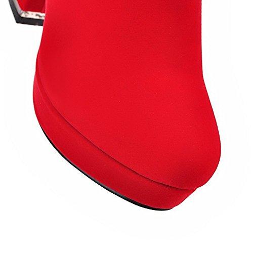 VogueZone009 Donna Punta Tonda Alta Altezza Tacco Alto Puro Pelle Di Mucca Stivali con Catene Rosso