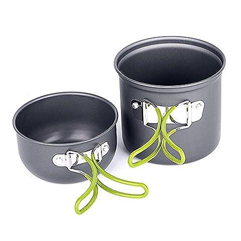 Aidle Tragbar Picknick Camping Wandern Backpacking Pot Pan Kochgeschirr Kochen im Freien Bowl Kochtöpfe Eloxiertem Aluminium Non-Stick Pot Schüssel Kochgeschirr (2 Stück)