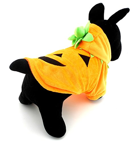 SELMAI Pumpkin Dog Disfraces de Halloween Mascotas Sudaderas con capucha Cat Small Puppy Warm Clothes Fleece Coat Naranja S