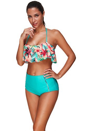 Ecute Damen Bikini Set Blumen Muster High Waist Sexy Bademode Beachwear Badeanzug Blau