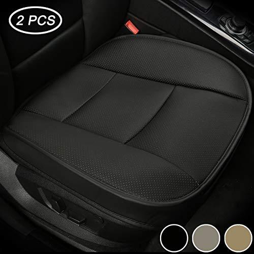 LUOLLOVE Coprisedili Universale Auto Anteriori Super Soft Confortevole Traspirante PU Protezione per Sedile Auto (2 Pezzi Nero)