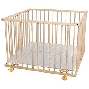 WALDIN Baby Laufgitter Laufstall ca. 100×100 BUCHE MASSIV, höhen-verstellbar, 2 Modelle wählbar,Buche Massiv-Holz natur…