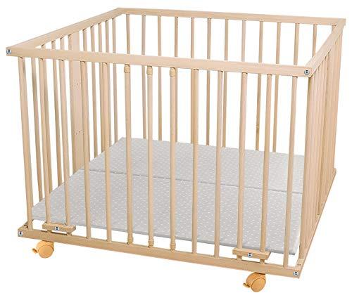WALDIN Baby Laufgitter Laufstall ca. 100x100 BUCHE MASSIV, höhen-verstellbar, 2 Modelle wählbar,Buche Massiv-Holz natur unbehandelt
