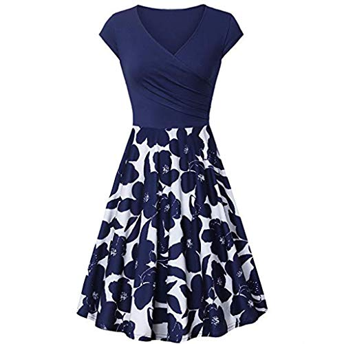 ced364b67c TOTOD Vintage Print Dress Deals, Women's Short Sleeve Cross V- Neck Dresses  Ladies Elegant