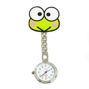 KEEKA Süß Grün Frosch Krankenschwesteruhr Quarzuhr Kinderuhr Taschenuhr mit Clip